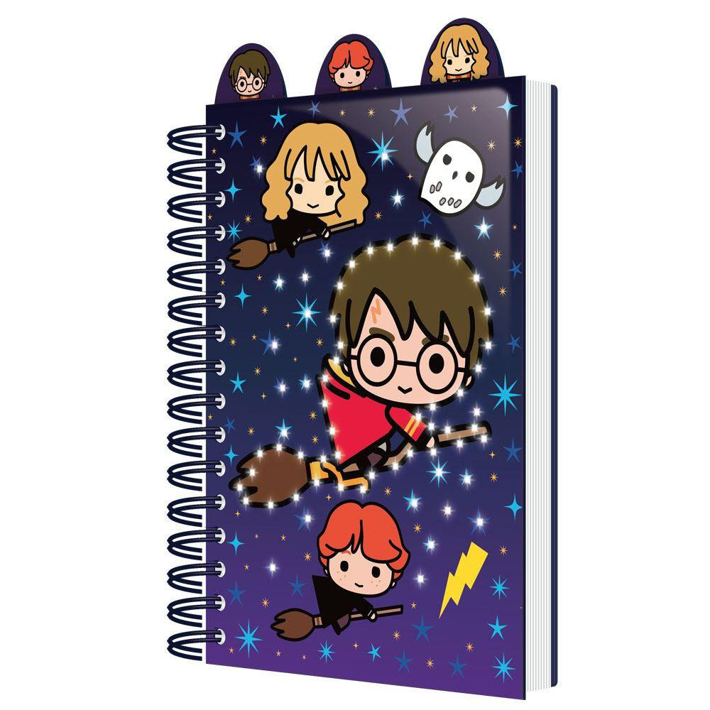 Light Up Notebook with Dividers A5 Chibi Characters-The Curious Emporium