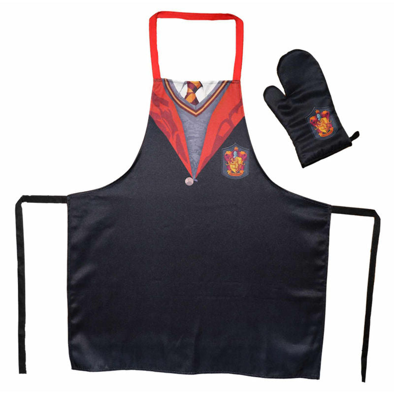 Gryffindor Apron with Oven Mitt/Glove-The Curious Emporium