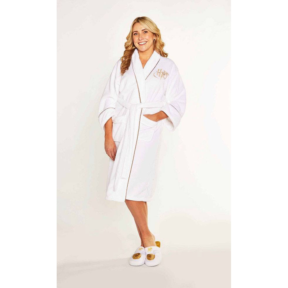 Women's Fleece Bathrobe Golden Snitch-The Curious Emporium
