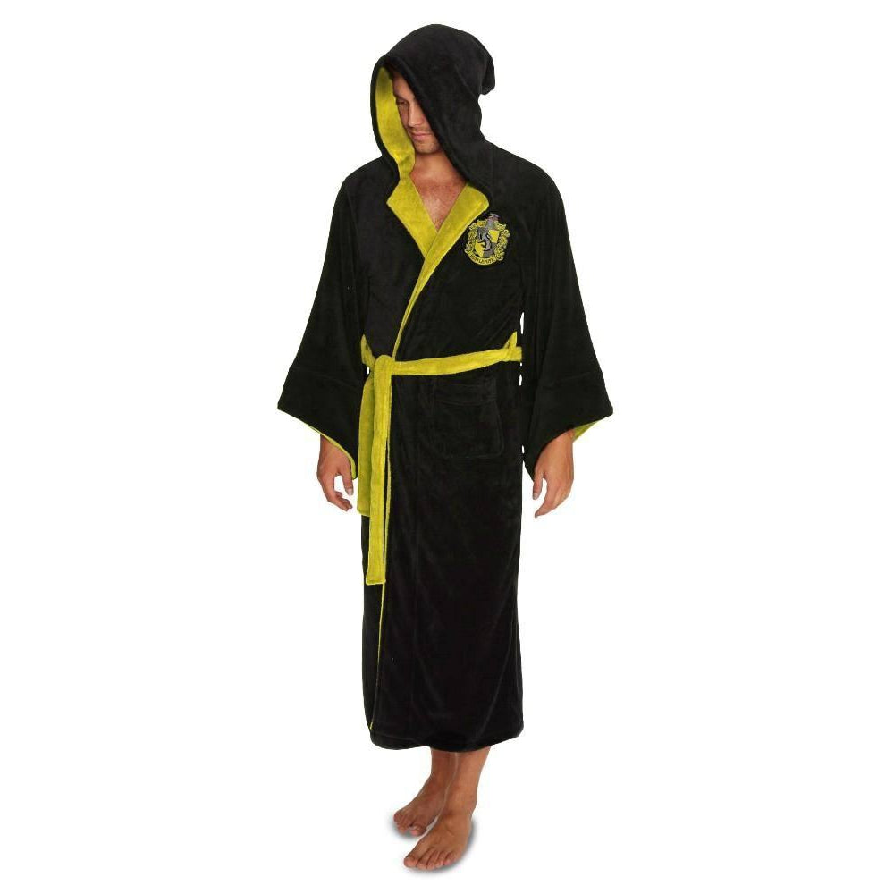 Harry Potter Hufflepuff Mens Black Fleece Robe with Hood-The Curious Emporium