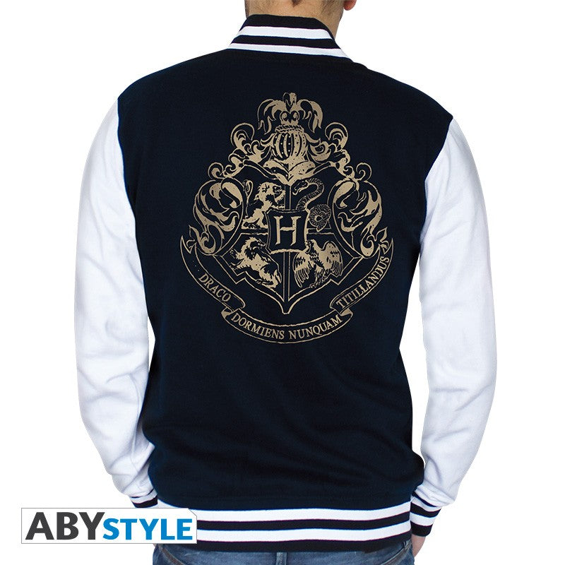 Men's Hogwarts Varsity Jacket Navy/White-The Curious Emporium