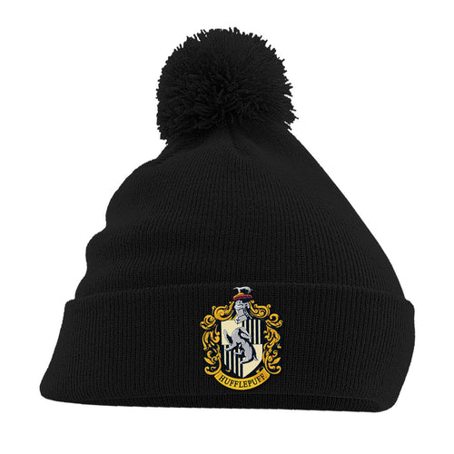 Harry Potter Pom-Pom Black Beanie Hufflepuff-The Curious Emporium