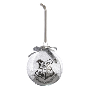 Large Glass Silver Glitter Hogwarts Crest Bauble-The Curious Emporium