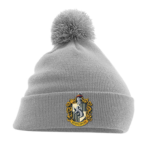 Harry Potter Pom-Pom Grey Beanie Hufflepuff-The Curious Emporium