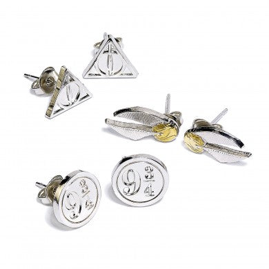 Harry Potter Stud Earring Set Snitch/ Deathly Hallows/ Platform 9 3/4-The Curious Emporium