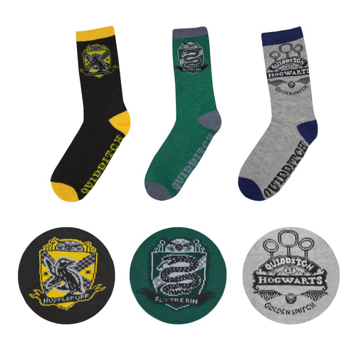 Harry Potter Socks 3-Pack Quidditch Hogwarts-The Curious Emporium