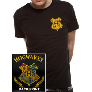 Harry Potter Mens T-Shirt Hogwarts Crest Colour-The Curious Emporium