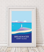 breakwater lighthouse barry island print by travel prints wales