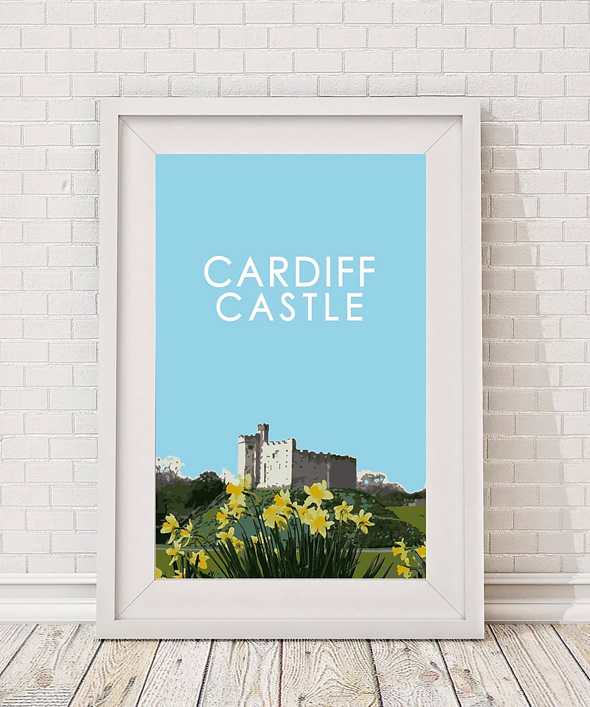 cardiff castle print with daffodils in spring by travel prints wales