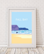 fall bay beach print gower showing surfer by the sea by travel prints wales