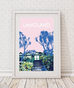 langland beach huts print by travel prints wales