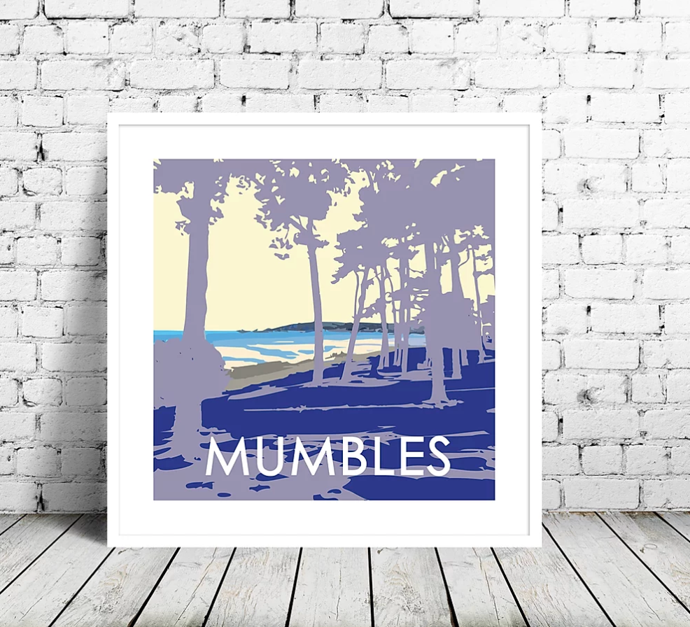 mumbles prints showing swansea bay seafront through the trees by travel prints wales
