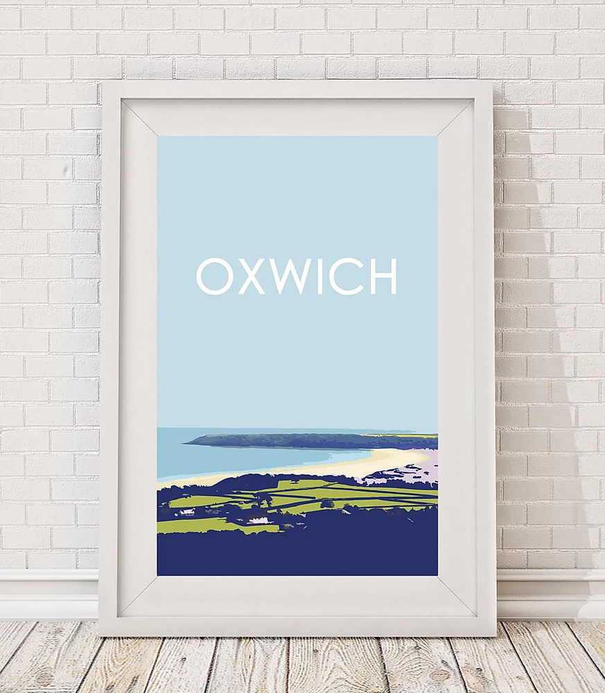 oxwich bay gower print by travel prints wales