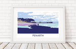 penarth beach print with pier in the background by travel prints wales