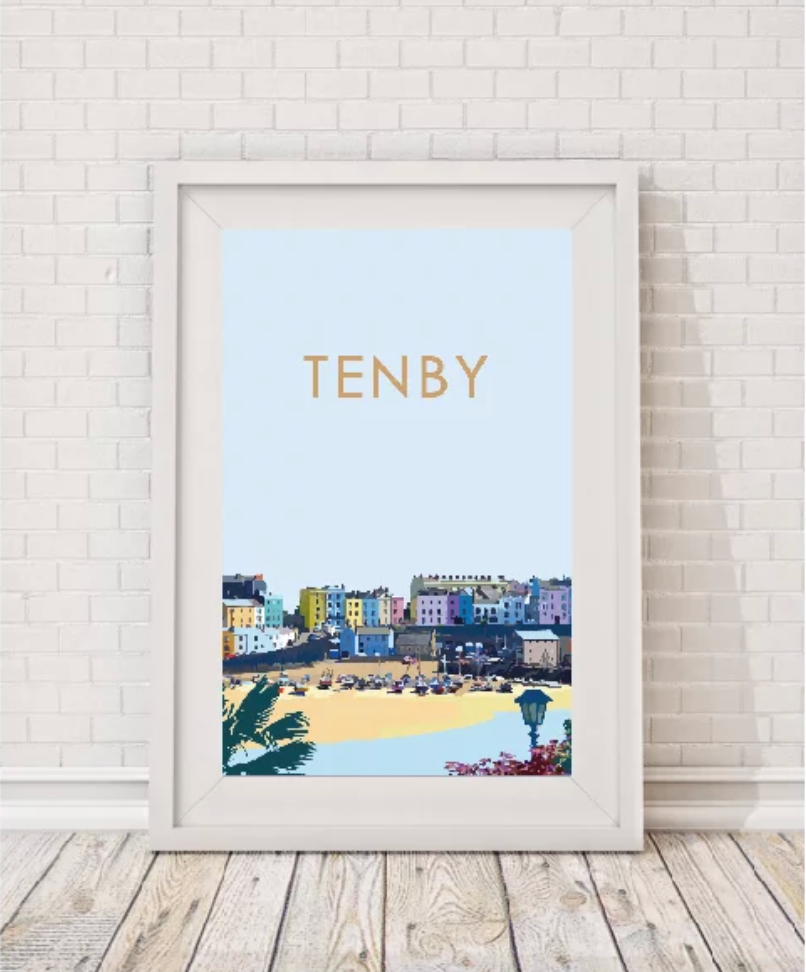 tenby beach west wales print by travel prints wales