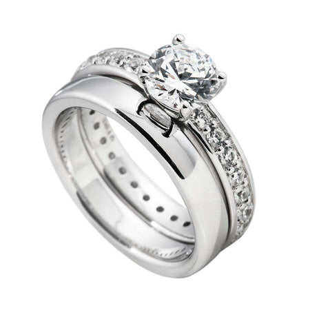 Anillo doble con solitario central de 7 mm by Diamonfire