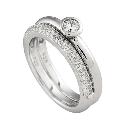 Anillo doble con solitario en bisel by Diamonfire