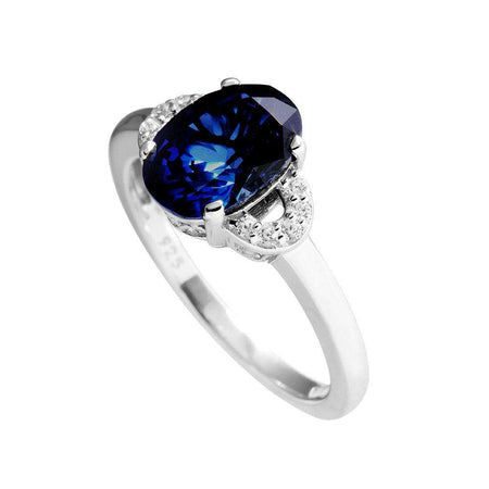Anillo Royal Colour solitario con piedra oval azul
