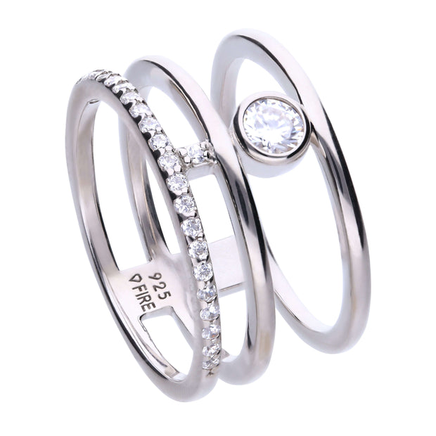 Anillo Modern triple de plata con circonitas Diamonfire by Diamonfire