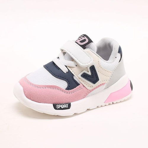 2019 New Kids Toddler Shoes For Baby Boys Girls Children Casual Sneakers Air Mesh Breathable Soft Running Sports Shoes Pink Gray