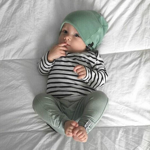 Spring and Autumn baby boys clothes casual 3pcs (Hat + T-shirt, pants) The Striped leisure baby boys Clothing sets