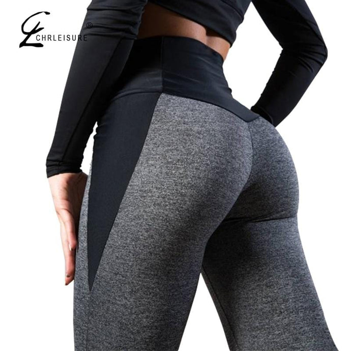 CHRLEISURE Women Fitness Legging High Waist Push Up Women Leggings Femme Patchwork Polyester Leggins Feminina