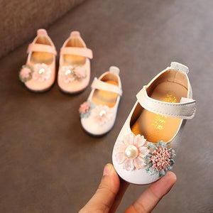 Kids Shoes autumn Flowers PU Baby Girls shoes First Walkers Fashion Wedding Princess Shoes Causal Birthday Gift For Girls