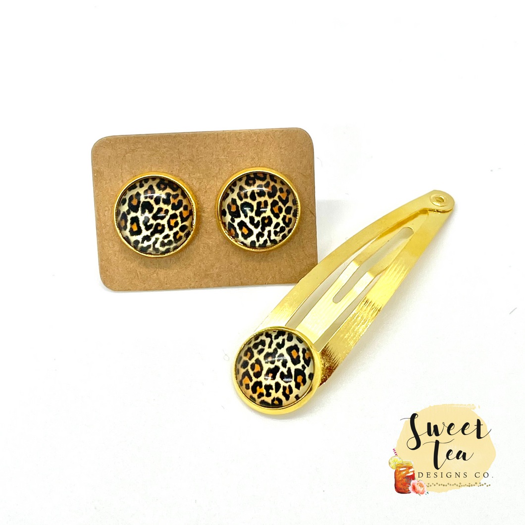 Leopard Studs and Hairpin Set in Gold-tone