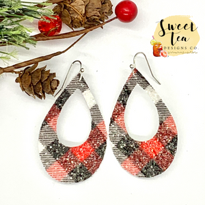 Red and Black Sparkly Plaid Teardrop Cutout Earrings