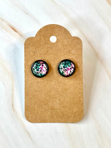 Pink and Teal Leopard Studs in Black Setting
