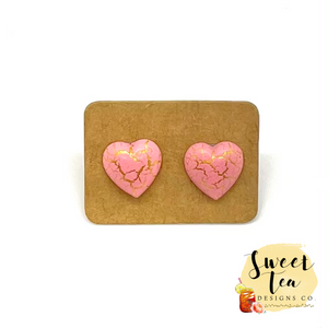 Pink and Gold Crackle Heart Stud Earrings