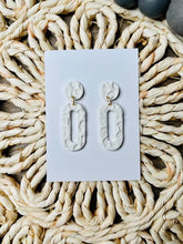 Load image into Gallery viewer, White Embossed Clay Earrings