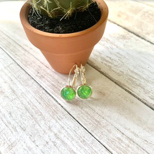 Tiny Green Confetti Dome Dangle Earrings