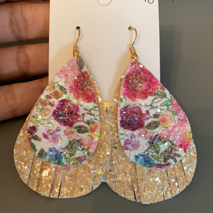 Glitter Floral Fringe Earrings