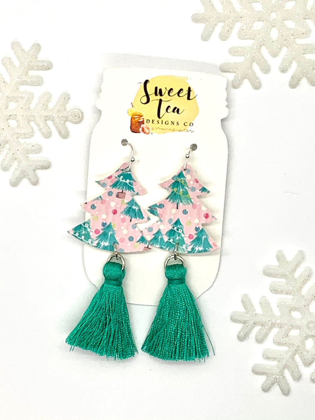 Pink and Teal Christmas Trees with Tassel Earrings