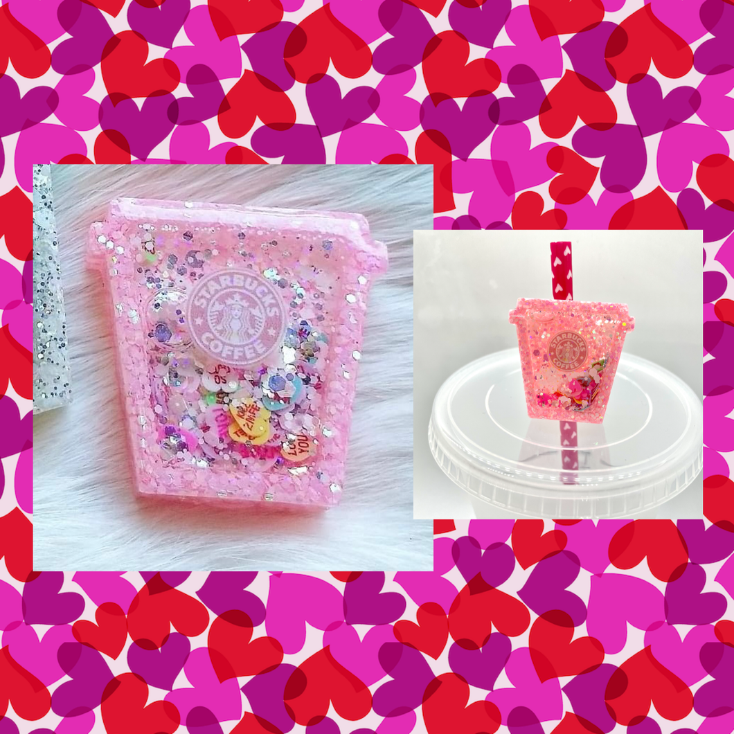 SB Conversation Hearts Pink Straw Topper