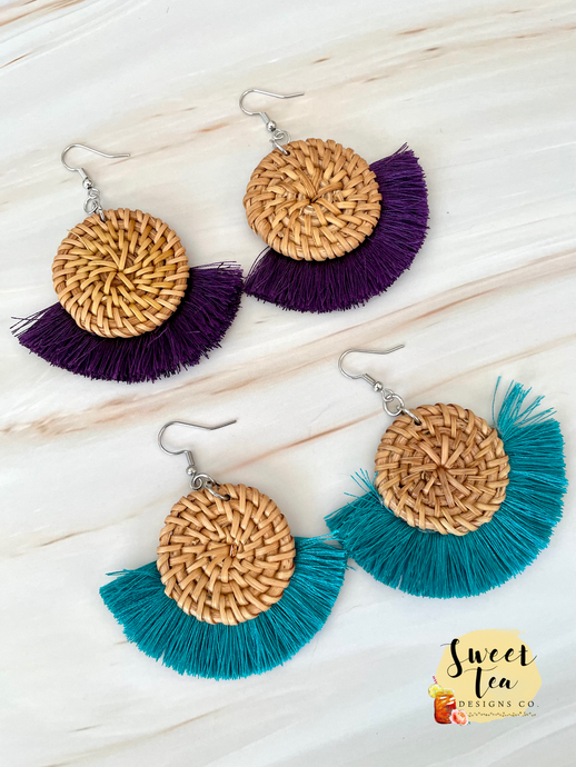 Bamboo Circle Fan Earrings