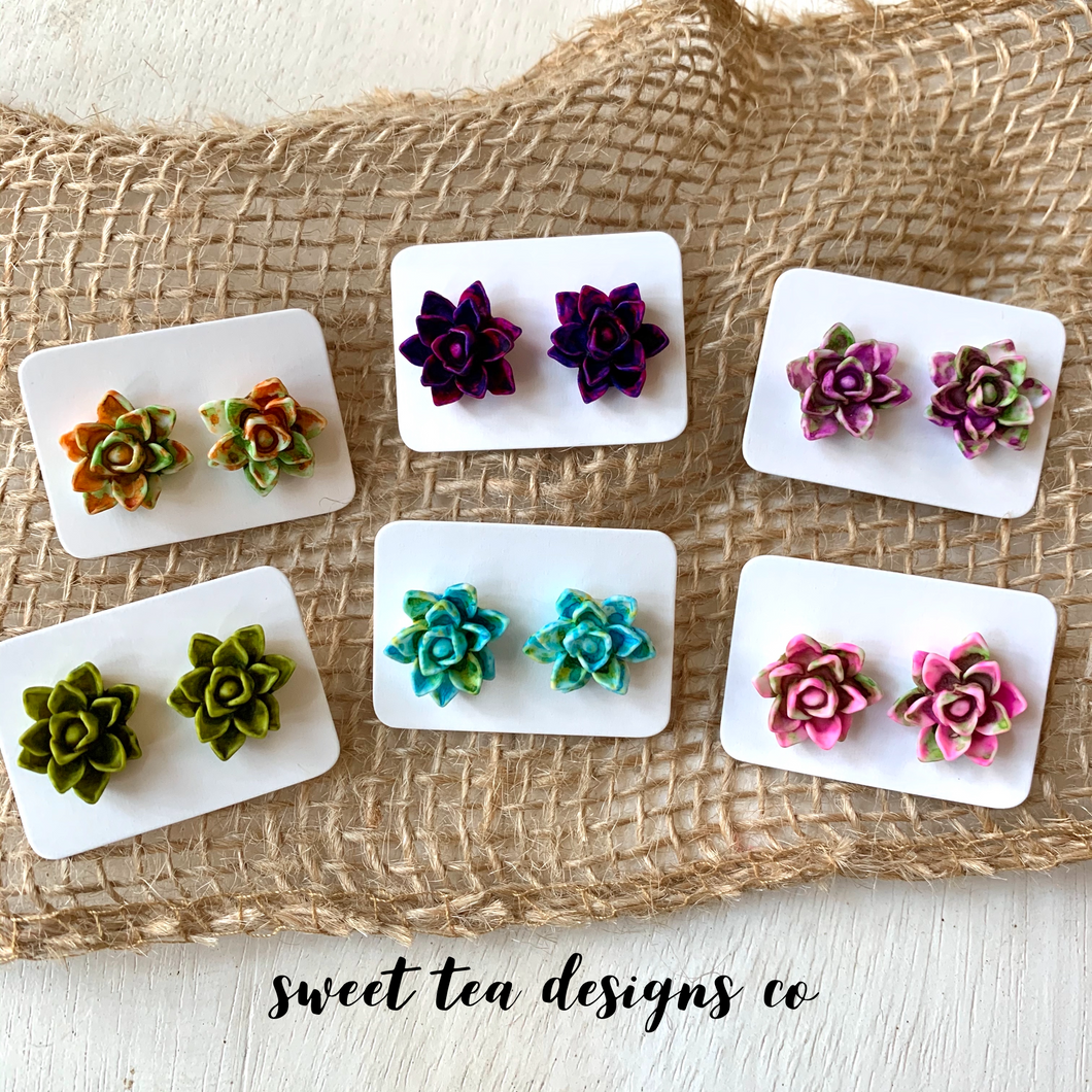 Fall Colored Succulent Stud Earrings