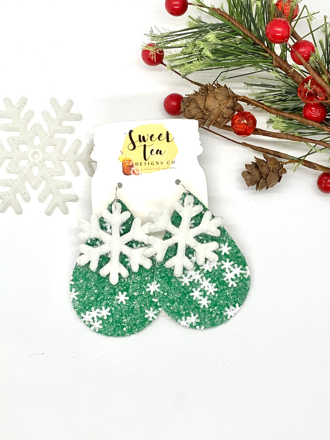 Green Glitter w/Snowflake Cutout Earrings