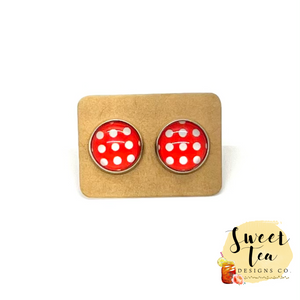 Red and White Polka Dot Stud Earrings