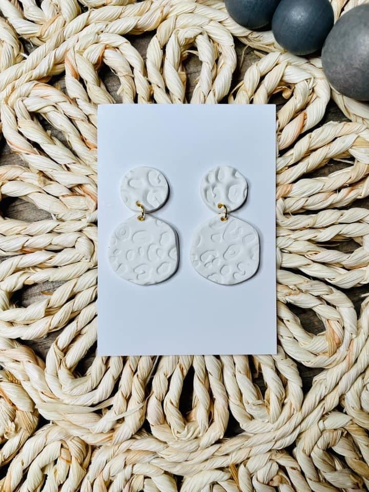 White Embossed Clay Earrings