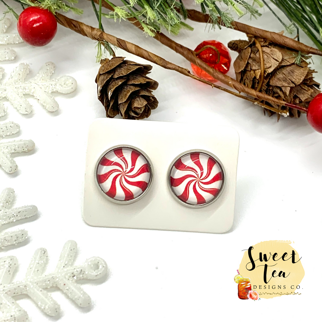 Peppermint Swirl Stud Earrings