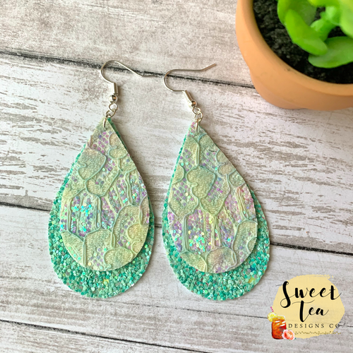 Mint Lace Layered Earrings