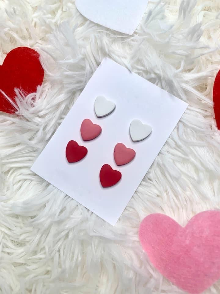 Heart Clay Studs Earrings Trio