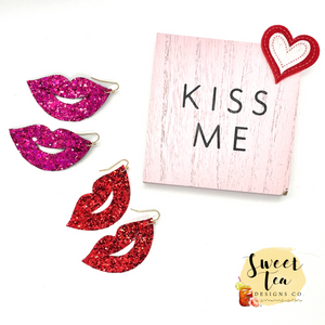 Glitter Lips Earrings