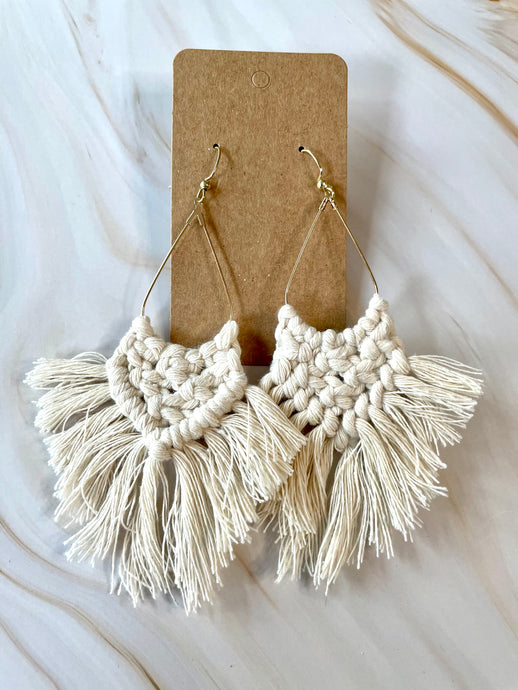 Cream Macrame Triangle Earrings