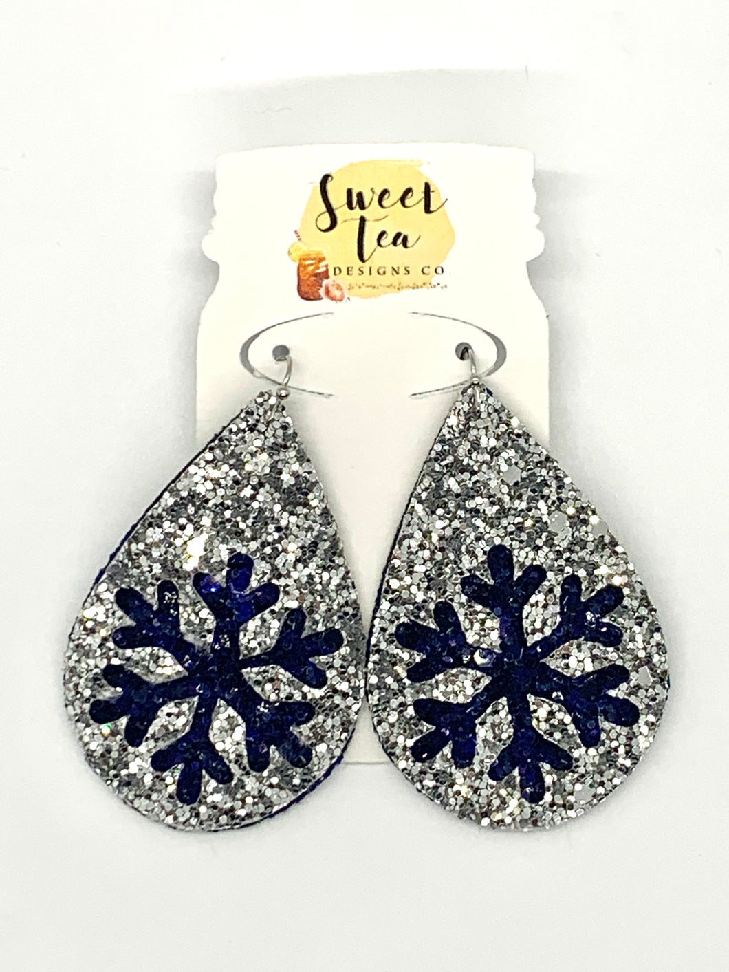 Silver and Navy Snowflake Cutout Earrings