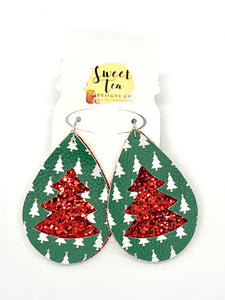 Green and Red Christmas Tree Cutout Earrings