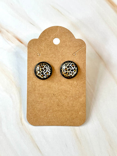Leopard Studs in Black Setting