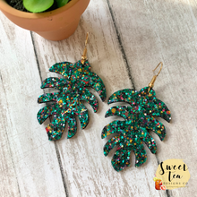 Load image into Gallery viewer, Jewel Tone Glitter Palm Leaf Earrings